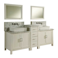 Cannes Carrara Marble Vanity, White Base, 84""