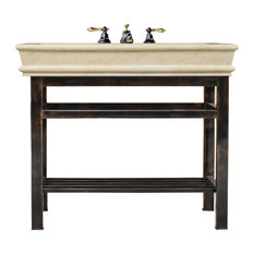 "Oil Rubbed Bronze Stainless Steel Vanity 36"" Travertine Top Single Console"