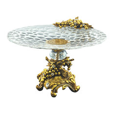 Elegant Sparkling Crystal Accented Round Dish on Base Center Piece