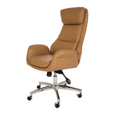 Camel Leatherette Gaslift Adjustable Swivel Office Chair