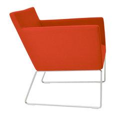 Harput Wire Lounge Chair, Chrome Plated Steel Tubes Base, Orange Camira Wool