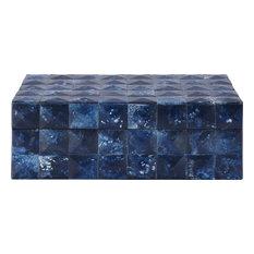 Bronson Decorative Box Feat. Bone Tiles, Blue