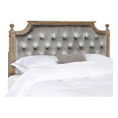 Safavieh Rustic Wood Tufted Headboard, Gray, Queen, Velvet