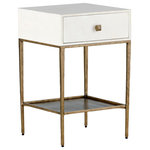 GABBY - Gabby May Faux Bone and Brass Bedside Table - May Nightstand by Gabby. The Gabby May gold and white nightstand has a drawer clad in white faux bone resin atop a minimalist Brushed brass finished metal frame. This gold and white side table is perfect for a transitional or eclectic bedroom. Faux bone top on a brass base with brass hardware.