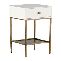Gabby May Faux Bone and Brass Bedside Table