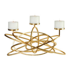 Midcentury Modern Open Entwined Candelabra, Multi Pillar Candle Holder Rings