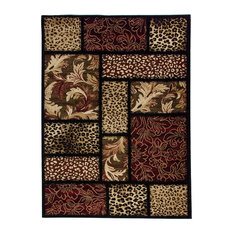 Well Woven   Well Woven Barclay Sante Fe Leopard Area Rug, Black, 5u0027