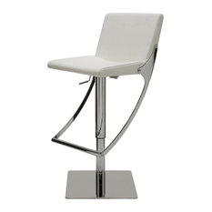 Swing Adjustable Bar Stool Modern Contemporary Barstool Faux Leather White