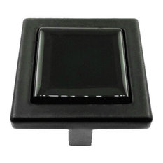 Black Crystal Glass Black Metal Square Manor Knob