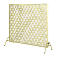 GDF Studio Elmer Single Panel Iron Fire Screen, Gold