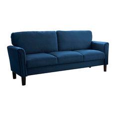 Victoria Navy Blue Fabric Sofa