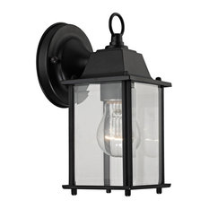 1 Light Outdoor Wall Sconce, Matte Black And Clear Glass