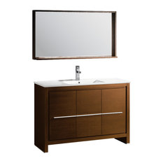 "Fresca Allier 48"" Wenge Brown Modern Bathroom Vanity, Mirror"