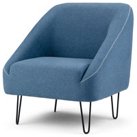 "Gretchen 32"" Accent Chair With Hairpin Legs, Denim Blue Linen Look Fabric"