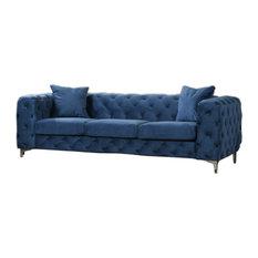 Nigel Velvet Living Collection Blue Sofa Table