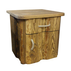 Pine Wood Bedside Table, Light Brown, Right Opening