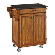 Home Styles Warm Oak Cuisine Cart With Black Granite Top Kitchen Islands And