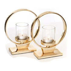 Moments Circle Candle Lights, Set of 2, Gold