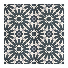 """8""""x8"""" Alhambra Handmade Cement Tile, Navy Blue and White, Set of 12"""