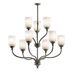 Lilah 9-Light 2-Tier Chandelier, Olde Bronze/White Opal Glass