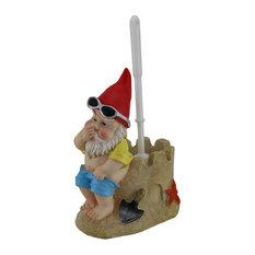Zeckos - Beach Gnome on Sandcastle Throne Toilet Brush and Holder Set - Toilet Brushes & Holders