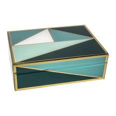 Sagebrook Home Wood/Glass Geometric Box, Teal