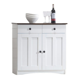 White-Dark Brown Buffet Kitchen Cabinet with Two Doors and Two Drawers
