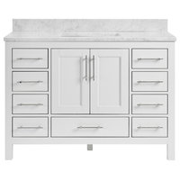 "Kendall White Bathroom Vanity, 48"", Vanity With Carrara Marble Top"