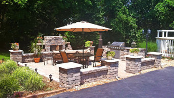 Fireplace Patio with Columns & Seating Wall