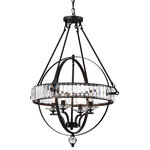 Edvivi Lighting - Magellan 4-Light Black Sphere Chandelier With Crystal Belt - This ornate, gorgeous chandelier will enhance your space and leave your guests enamored. Four candelabra style bulbs are encased by a glimmery crystal belt. The black finish tops of the contemporary fixture and creates a look that is eye-catching. The 39-inch chain can be adjusted at a custom hanging position.