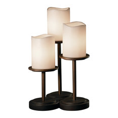 CandleAria Dakota Table Lamp, Cylinder With Melted Rim, Cream Shade