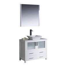 "Torino 36"" White Vanity, Vessel Sink Tolerus Chrome Faucet"