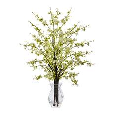 Cherry Blossom, Glass Vase, White