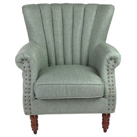 SpaceSaving Elegant Design Fabric Tufted Club Accent Chairs, Green