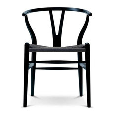 homedotdot - Designer Dining Chair Wood Wooden Woven With Open Y Back Armchair Chairs, Black - Dining Chairs