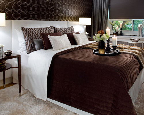 inspiration for a modern bedroom remodel in toronto - Brown And White Bedroom Ideas