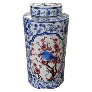 Red White and Blue Bird Porcelain Canister Jar With Lid, 16""