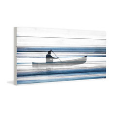 """Blue Lake Canoe II"" Painting Print on White Wood, 60""x30"""