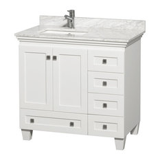 "Acclaim White Vanity, 36"", Square, White Carrera Marble"