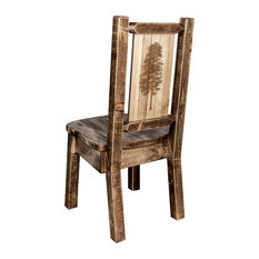 Homestead Collection Side Chair Pine Tree Design Stained & Lacquered