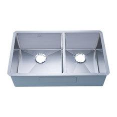 "Undermount Stainless Steel Kitchen Sink, 33"", Double Bowl"