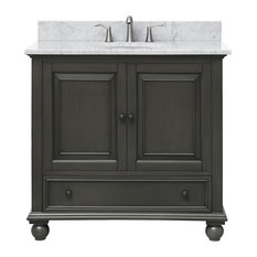 "Avanity Thompson 37"" Vanity, Charcoal Glaze Finish, Carrera White Marble Top"