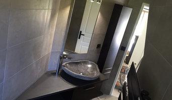 Meuble de salle de bain en béton ciré