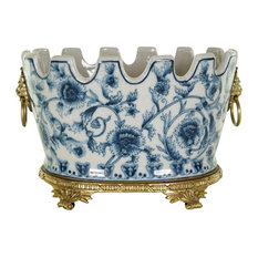 Oval Blue and White Chinoiserie Floral Crackle Scallop Rim Porcelain Pot Ormolu