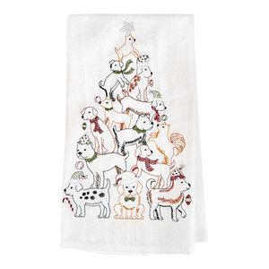 690f7fbd1960c Dog Christmas Tree Print Kitchen Towels