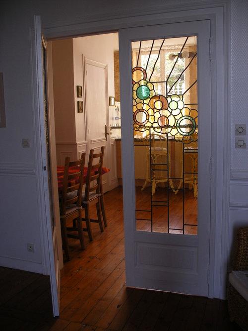 Porte intérieure avec vitrail Art Déco