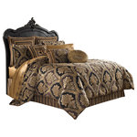 """Five Queens Court - Five Queens Court Reilly 4 Piece Queen Comforter Set - Reilly is a woven chenille damask. This bedding collection consists of shades of gold and black. The oversized comforter is embellished with tricolor twist cord. The 4 pcs set includes:  One beautifully designed comforter. Two perfectly matched padded pillow shams with a hidden zipper. Pillow shams are engineered, centering the woven chenille damask and finished with tricolor twist cord piping. The bedskirt consists of an engineered woven chenille stripe. The bedskirt contains split corners and a 15"""" drop.   One (1) Comforter, Two  (2) Standard Shams, One (1) Queen Bedskirt"""