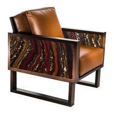 Twist Modern Stromatolite Leather Lounge Chair by Brenda Houston