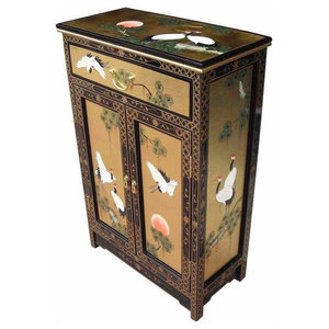 Traditional Storage Cabinet in Hand Painted MDF, Oriental Chinese Design