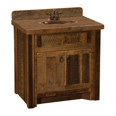 """Barnwood Vanity, 30""""without Top, Sink Center"""